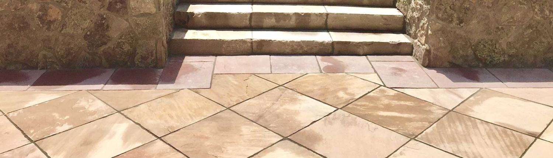 Professionally installed custom stone patio Lakewood