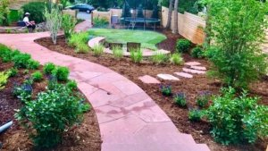 Xeriscaped yard with levels Applewood Colorado