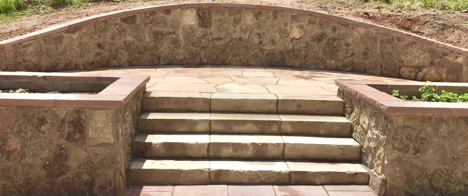 custom redwood patio and steps in Northglenn Colorado