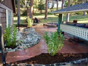 Flagstone patio with fire pit Idaho Springs Colorado