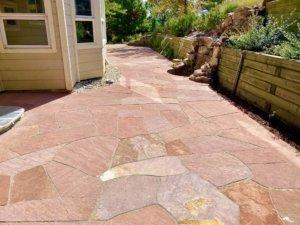 level flagstone patio in Applewood Colorado