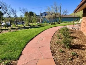 redwood flagstone walkway and porch Lone Tree Colorado